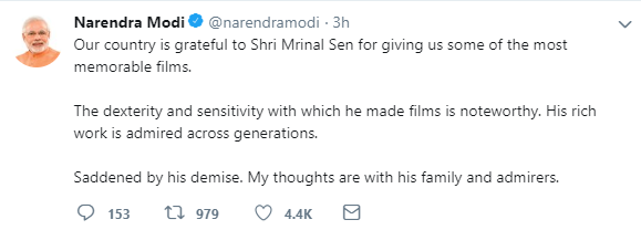 PM Modi on Mrinal Sen