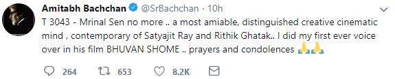 Amitabh Bachchan on Mrinal Sen